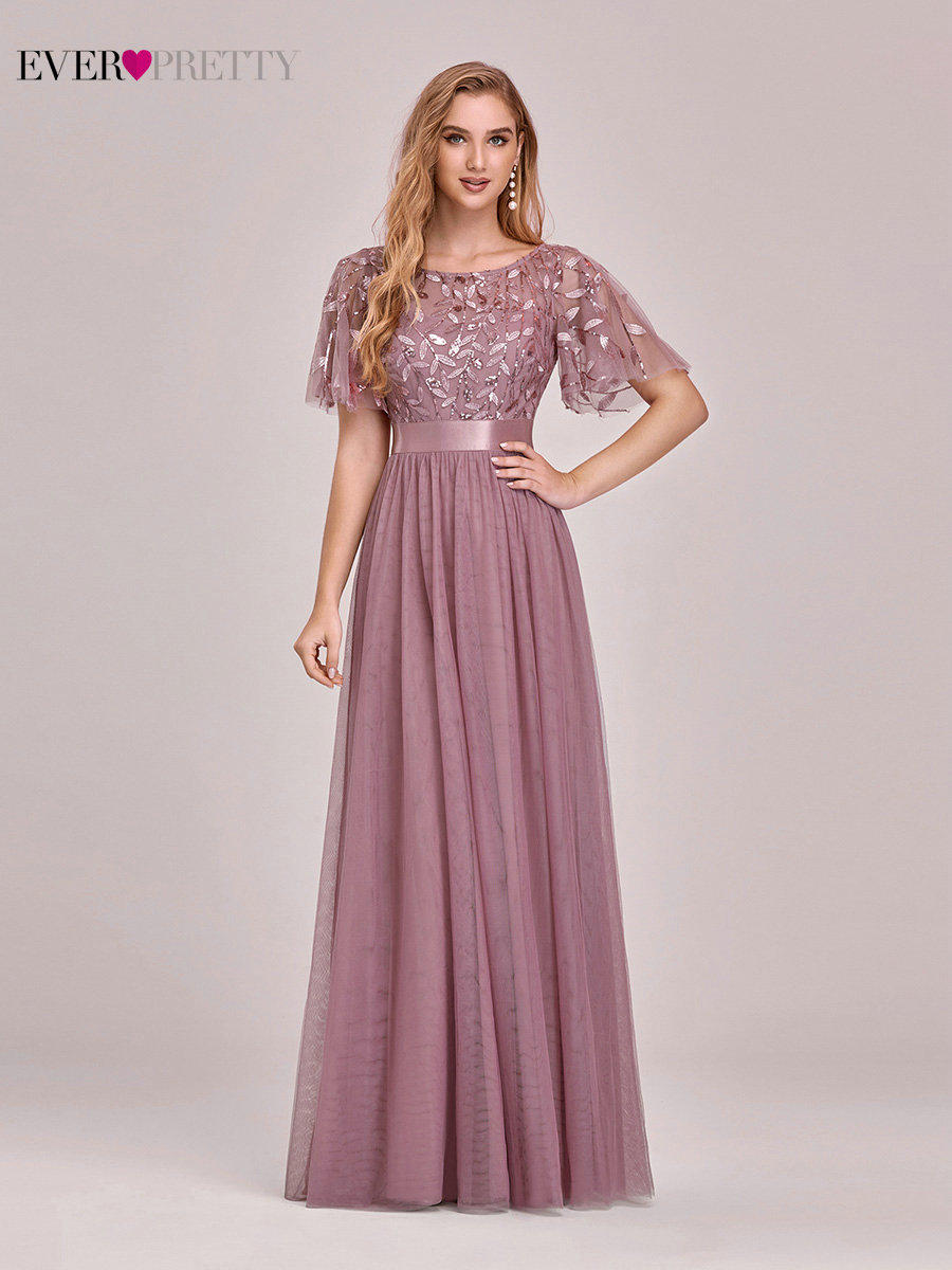 Prom-Dresses Short-Sleeve Party-Gowns Sparkle Sequined Robe-De-Soiree Ever Pretty A-Line