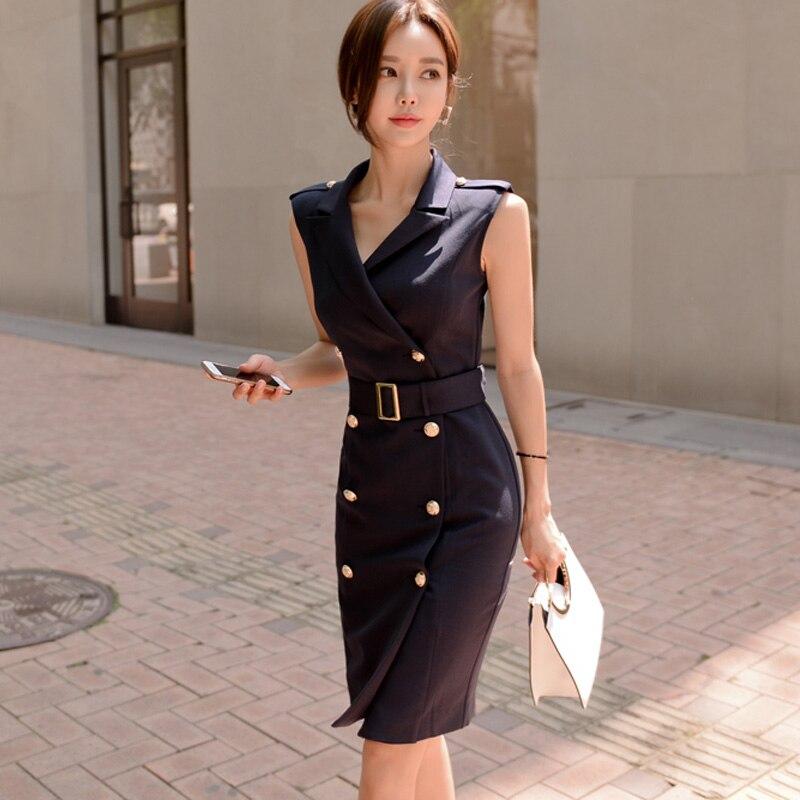 Women Summer Office Lady Work Wear Slim Vestidos Sleeveless BeltedDouble Button Sexy korean fashion style Dress clothes