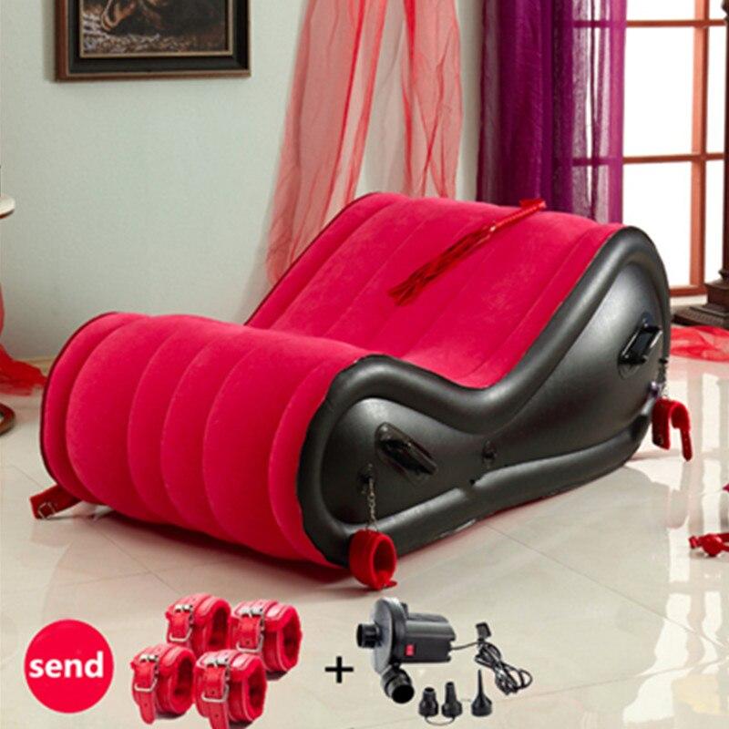 Cama inflable plegable para adultos pareja amor Juegos de camas con 4 puños muebles de dormitorio Easyliving King marcos de cama de cuero PVC
