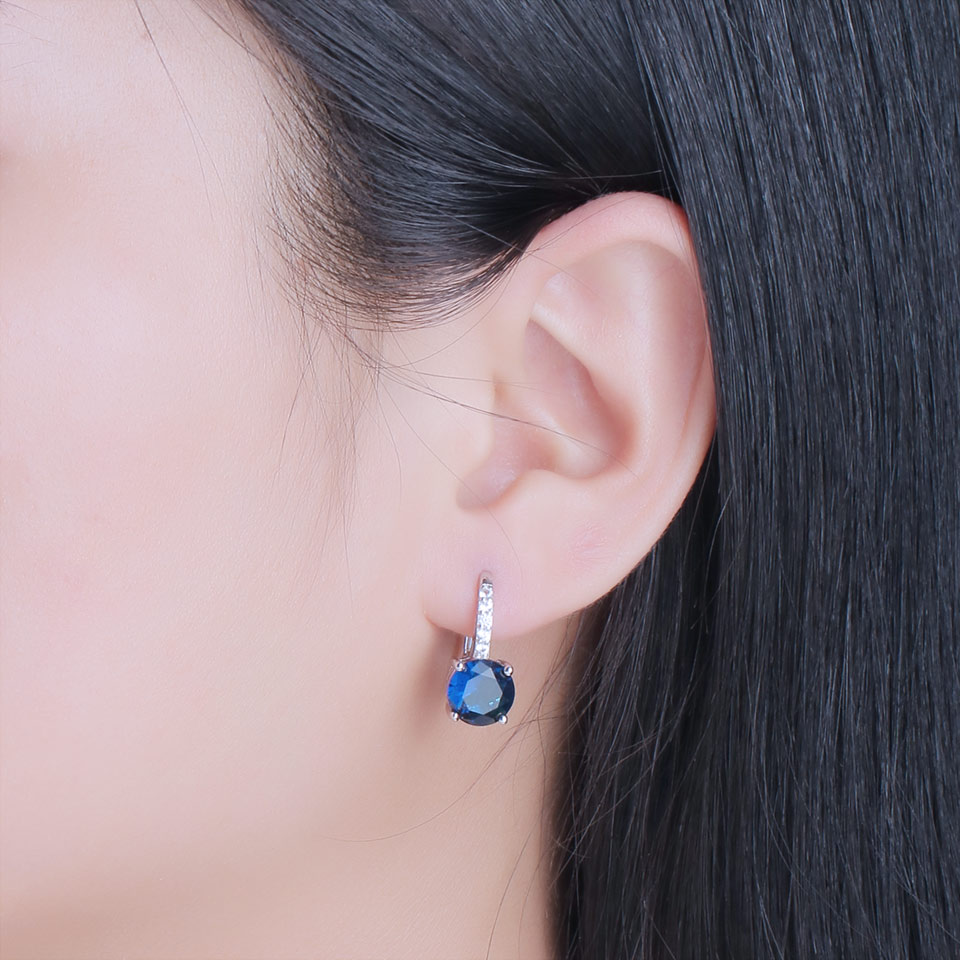 H0a6f79ca9c8e4f3f849603fa04848994G UMCHO 100% Real Silver 925 Jewelry Round Created Nano Sapphire Clip Earrings For Women Party Fashion Gift Charms Fine Jewelry