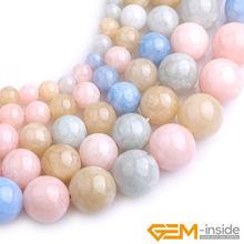 Multicolor Morganite Morgan Jades Round Bead For Jewelry Making Strand 15