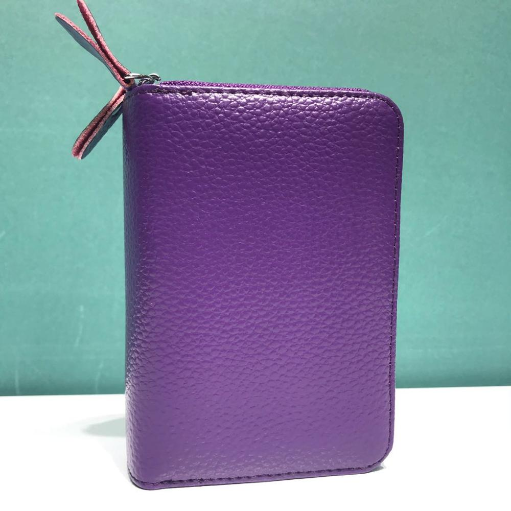 100% Genuine Leather High Quality Leather Case Double Zipper Card Case Multi Slot Change Wallet Solid Color Wallet
