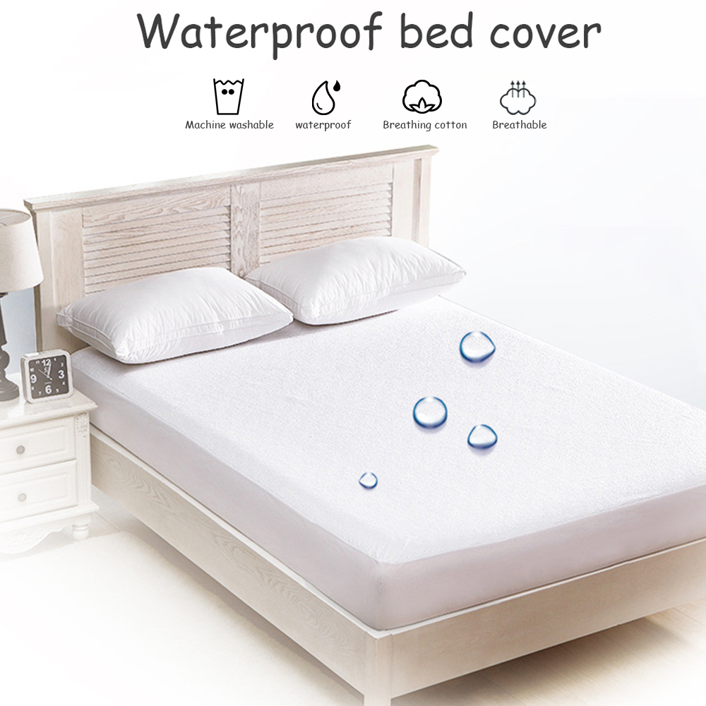 Mattress Protector Cover Smooth Waterproof For Bed Solid White Wetting Breathable Hypoallergenic Protection Pad Cover Anti-Mite