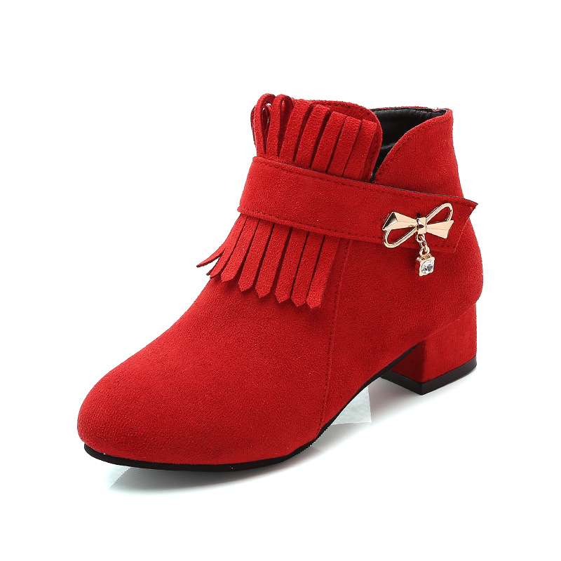 New Fringe Bow Autumn Children'S Shoes Princess High Heel Boots Kids Girls Fashion Warm Snow Boots 4 5 6 7 8 9 10 11 12 Years