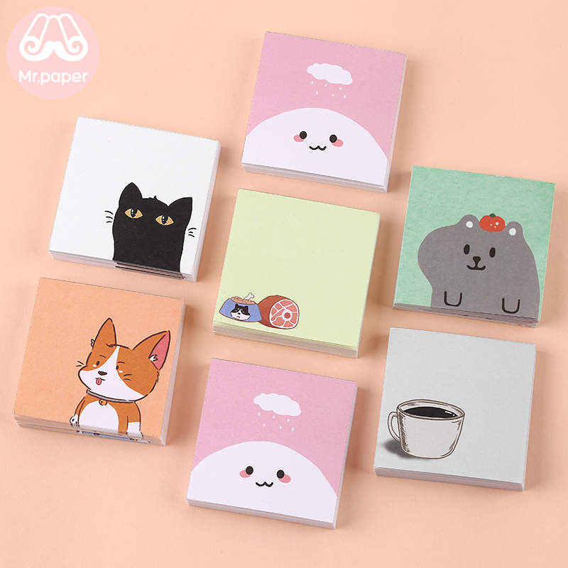 Mr Paper 50pcs/pad 6Designs Memo Putppy Cat Small  Plan Pocket Notepad Memo Pad Sticky Notes Creative Self-Stick Notes Memo Pads