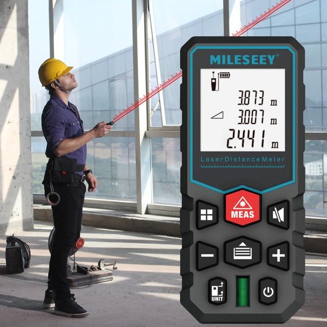 Mileseey laser distance meter electronic roulette laser digital tape rangefinder trena metro laser range finder  measuring tape 2