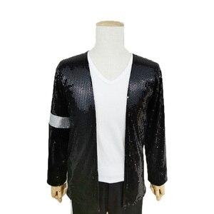 Маскарадный костюм Майкла Джексона джинсовый костюм Billie Детская куртка с блестками для взрослых MJ + штаны + шляпа + перчатки, черный цвет, под...