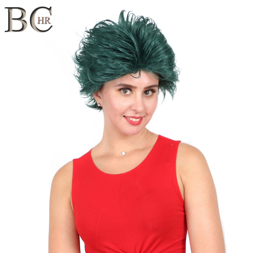 Image 3 - BCHR Short Anime Cosplay Deku Wigs Dark Green Synthetic Wig for My Boku no Hero Academia Midoriya Izuku Costume Wig-in Synthetic None-Lace  Wigs from Hair Extensions & Wigs