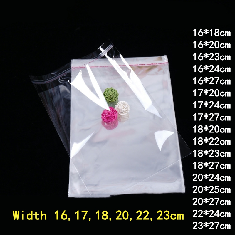 100pcs 16/17/18/20/22/23cm Plastic Transparent Bags Opp Bag Clothing Packing Storage Toy Gift Bag Multiple Size Self Adhesive