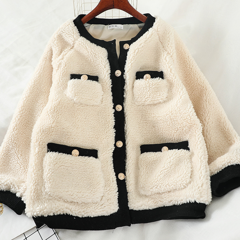 2019 Women winter   basic     jacket   lamb wool coats plus size woman loose   jackets   tops clothing TJ21