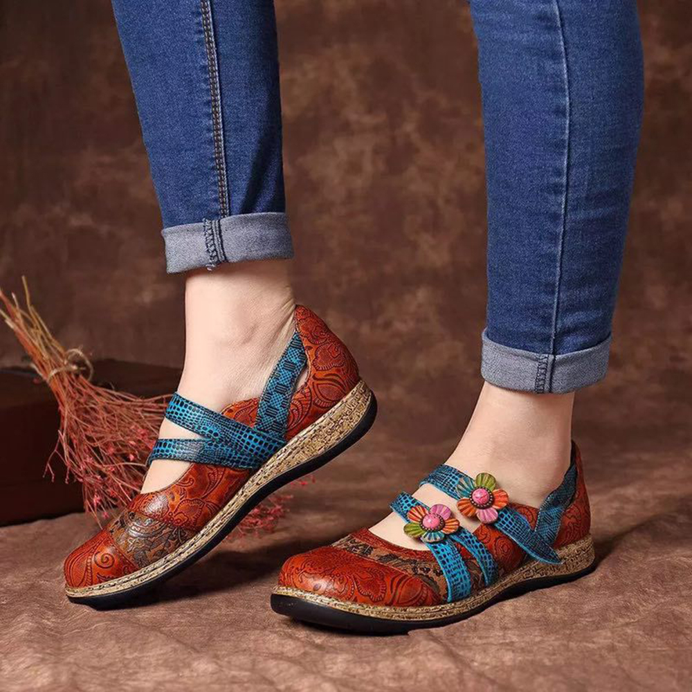 Floral Genuine Leather Splicing Colored Stitching  Flat Shoes Vintage Spring Summer Casual Women Flat Shoes 2020