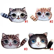 1 pc Polyester Cat Face Tail Coin Purse Kid Wallet Bag Change Pouch Jewelry Organizer Key Holder Children Gift drop shipping