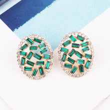 LUBOV Fashion Geometric Irregular Round Rectangle Twisted Metal Gold Opal Stud Earrings Gifts for Women Girl Party Jewelry