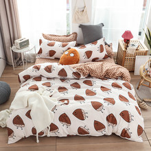 Nut pattern printing duvet cover set bed cover home flat sheet pillowcase 3/4pcs/set bed linen set No quilt(China)