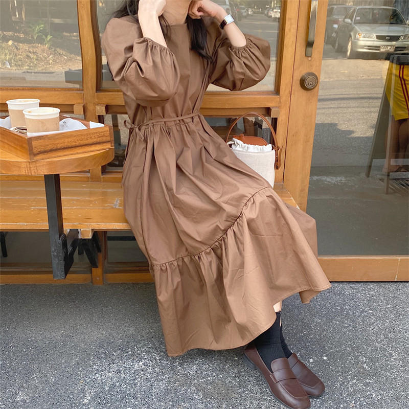 H0a705168519d427f99d98b82c55d6cd5j - Spring / Autumn Square Collar Long Lantern Sleeves Loose Solid Midi Dress