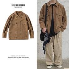 Autumn New Jacket Men Fashion Retro Casual Cotton Multi-pocket Tooling