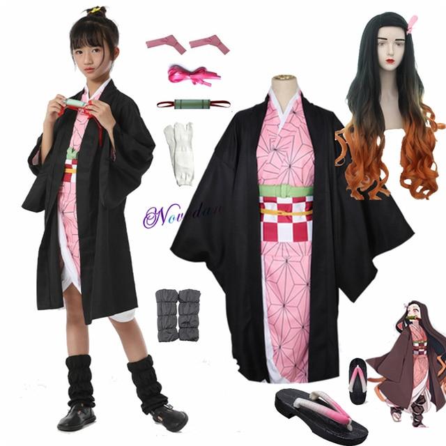 Kids Girl Cosplay Anime Demon Slayer Kimetsu no Yaiba Kamado Nezuko Costume Set