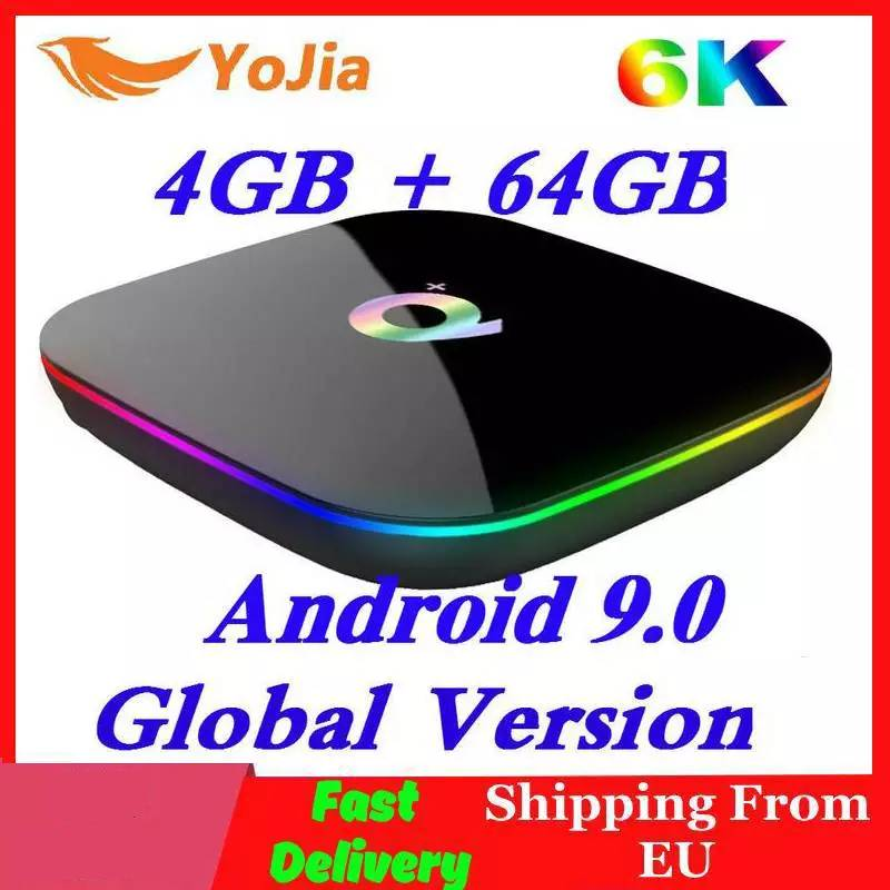 Allwinner H6 6K Smart TV Box Android 9.0 Q Plus 4GB RAM 64GB ROM QuadCore Playstore Youtube Wifi Set Top Box 2G16G Media Player