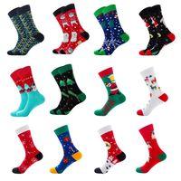 Mens Christmas Cotton Crew Socks Cartoon Cat Snowman Santa Holiday Hosiery 40JF