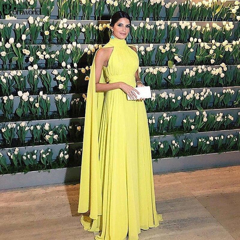 Abendkleider Dubai Formal Dress Women Elegant Chiffon Ruched High Neck Cape Yellow Evening Dress 2020 Vestido Longo Festa