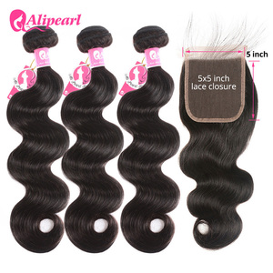 AliPearl Hair Body Wave Bundles With 5x5 Lace Closure Brazilian Hair Weave Bundles With Closure Remy Hair Extension