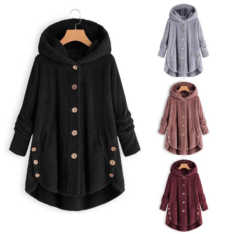 Women Warm Coat Loose Long 2019 Female Fluffy Tops Button Hooded Coat Winter Asymmetrical Soft Fleece Hooded Outwear Fur Coat