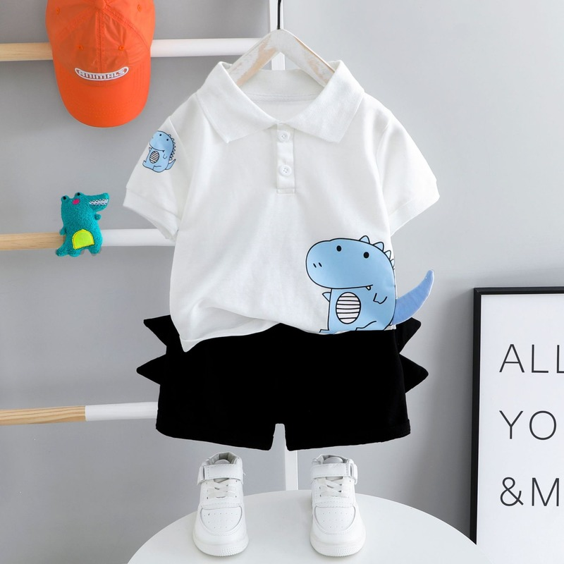 Baby Clothes Summer Suit Toddler Boys Short Sleeve Top + Black Shorts Children Outfits 2 Pieces 1-4 Year Old Baby Kids Clothes 1