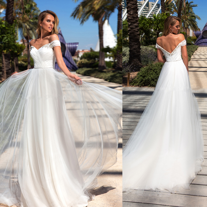 Sequins V-neck Off The Shoulder Pleated Tulle Wedding Dress With Zipper Back Sweep Train Bridal Dress Vestodo De Noiva