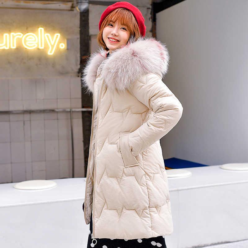 Vrouwen Down Katoen Gewatteerde Jassen Medium Lange Hooded Parka Plus Size 3xl Warm Grote Faux Bontkraag Losse Sneeuw Bovenkleding