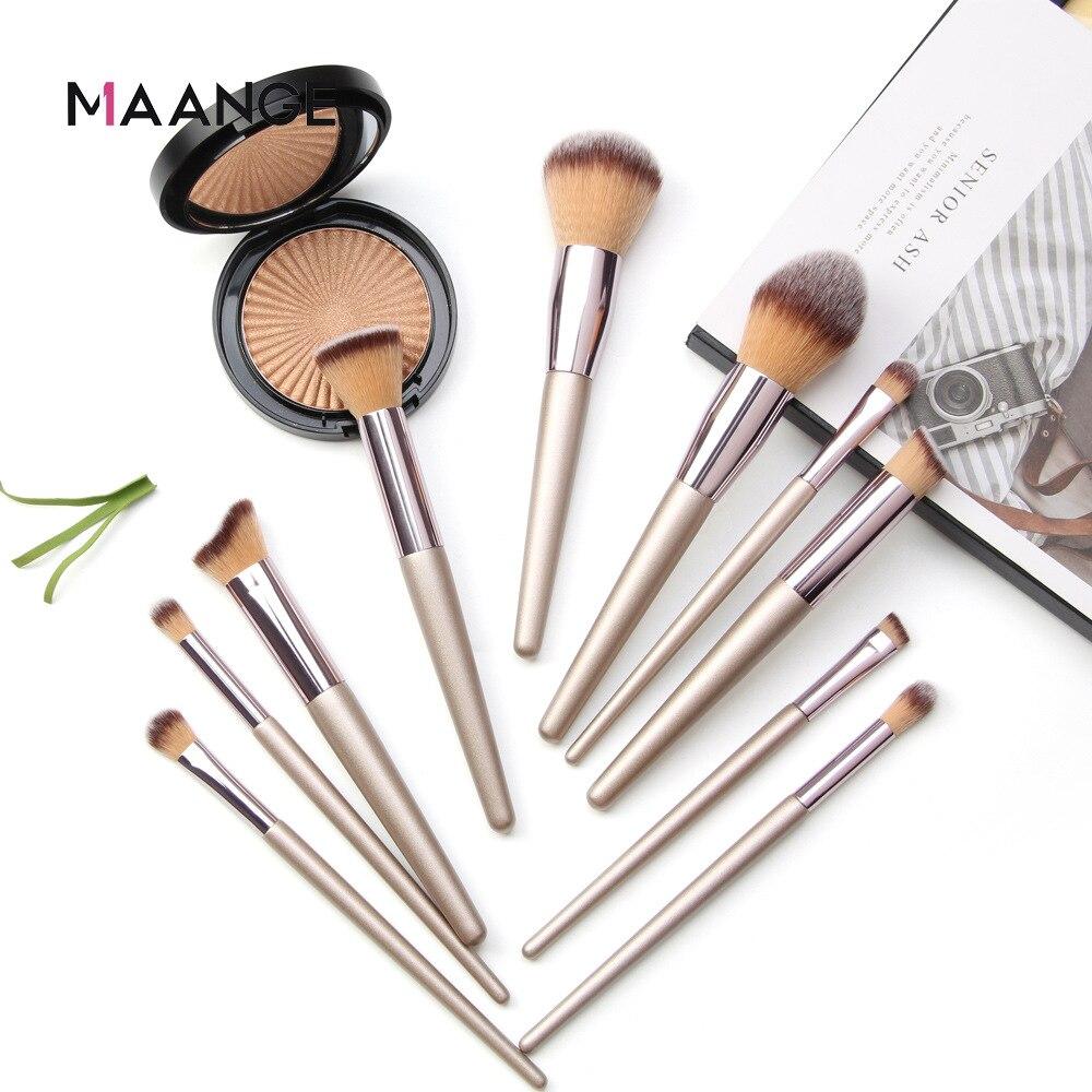 MAANGE Kit Makeup Brush Champagne Gold Makeup Brush Foundation Blush Eye Shadow Lip Makeup Brush Set Makeup Beauty Tools Brushes