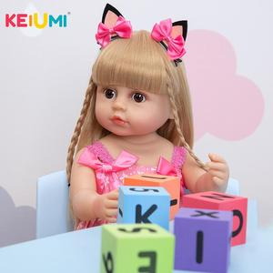 Dropshipping KEIUMI Full Silicone Body Reborn Baby Girl Dolls 55 CM Lifelike Toddler Boneca Bath Toys Doll Kids Birthday Gift