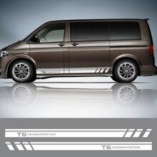 2 adet araba kapı yan etek çizgili çıkartmalar için Volkswagen VW TRANSPORTER T5 T6 yarış oto vücut dekor grafik vinil aksesuarları