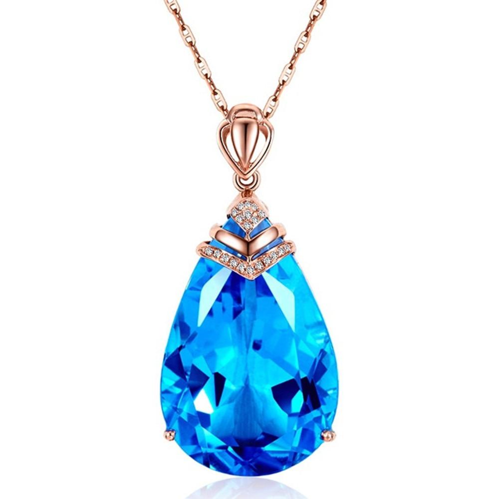 Aquamarine Gemstone Topaz Pendant Necklace Women Femme Blue Crystal 18k Rose Gold Choker Chain Party Dress Fashion Jewelry Gift