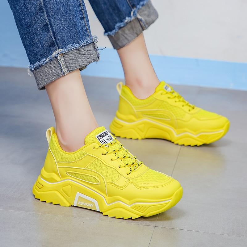 Мягкие повседневные плотные кроссовки на платформе; Летняя женская обувь из дышащего сетчатого материала; Повседневная желтая спортивная обувь на плоской подошве; женские оранжевые; 2019