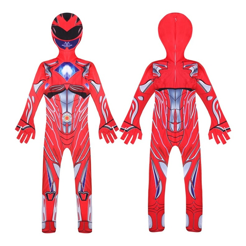 Boys Halloween Power Costume Lycra Spandex Samurai Kid Halloween Party Cosplay Red/Pink/Blue/Green/Yellow Ranger Suit For Boys