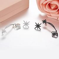 Fashion meteor shooting star long ear clip 925 Sterling Silver asymmetric women Earrings Monaco Jewelry aretes de mujer