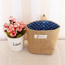 Small Sack Stripe Dot Hanging bag Living Room Storage Cloth bags  jute Cotton Linen Sundries basket mini desktop storage ba
