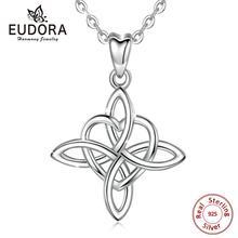 Eudora 925 Sterling Silver Geometrical line Heart Pendant Neckalce Irish Celtics Knot Necklaces Fine jewelry For Women CYD203