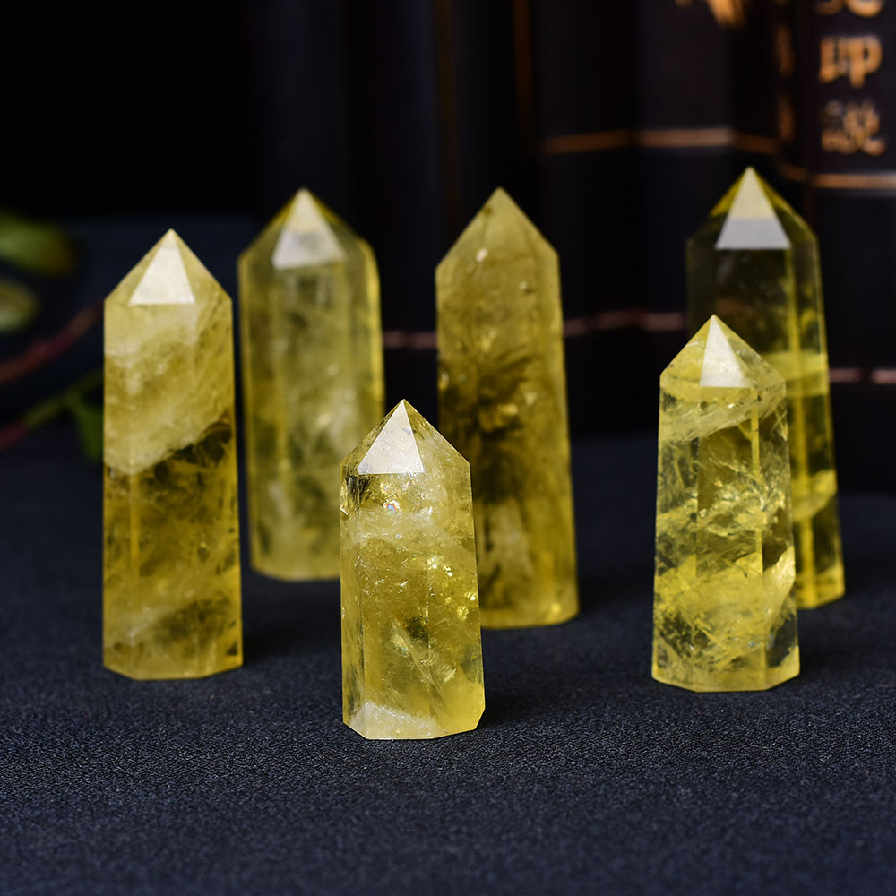 1pc Natural Crystal Point Citrine Healing Obelisk Yellow Quartz Wand Beautiful Ornament for Home Decor Energy Stone Pyramid
