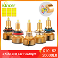 ISincer 2pcs 6 Side LED car headlight bulb 20000LM H7 360°CSP H1 LED H11 H8 H9 9005 HB3 9006 HB4 9012 6000K Auto Fog Head Lamp