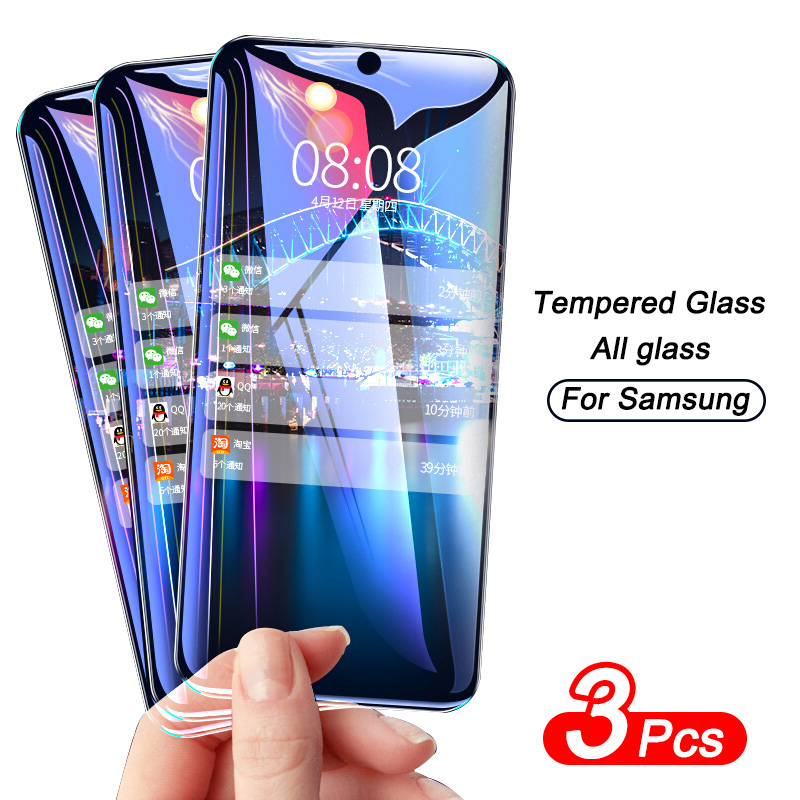 3PCS Full Cover Protective Glass On For Samsung Galaxy A20 A50 A20E A50S A51 A71 Screen Protector A70 A10 A30S A40 A60 A80 Glass 1