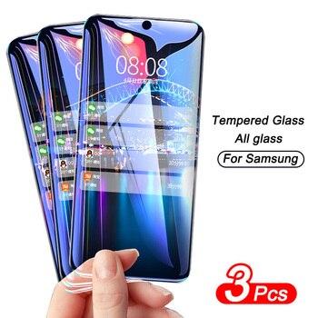 Перейти на Алиэкспресс и купить 3 шт полное покрытие Защитное стекло для Samsung Galaxy A20 A50 A20E A50S A51 A71 защита для экрана A70 A10 A30S A40 A60 A80 стекло