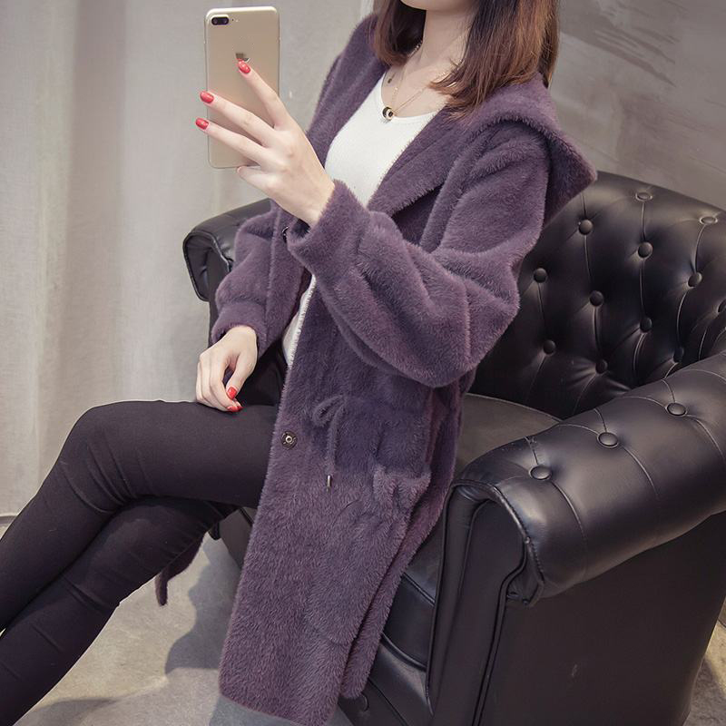 Women 2020 Autumn Winter Imitation Mink Cashmere Knitted Cardigans New Loose Sweater Coats Female Hooded Casual Outerwear T135
