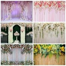 Yeele cérémonie de mariage 3D fleurs décor arbre violet photographie décors arrière plans photographiques personnalisés pour Studio Photo