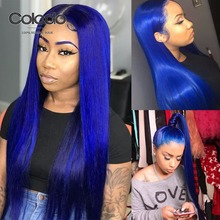 COLODO Pre Plucked Royal Blue Straight Lace Front Wig Brazilian Remy Lavender Pu