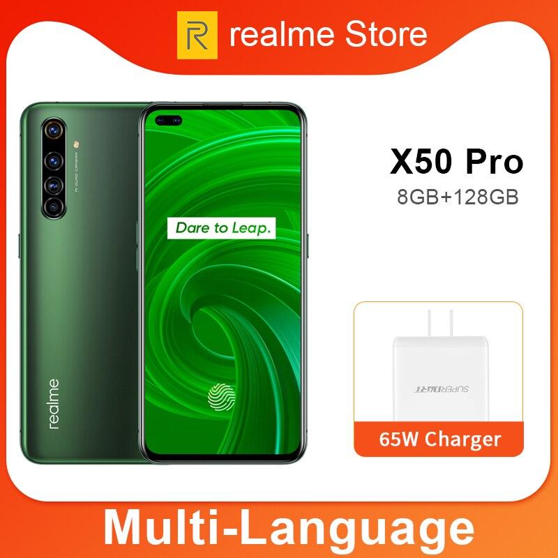 Przedsprzedaż realme X50 Pro X50 5G 8GB 128GB 5.44 90Hz SuperAmoled ekran telefon komórkowy Snapdragon 865 telefon komórkowy 65W Superdart Charge