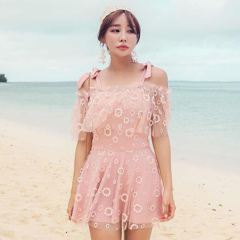 Corée Bikinis pour femmes 2020 une pièce maillots de bain maillot de bain filles grande taille adolescents Monokini maillot de bain femme robe Triquinis