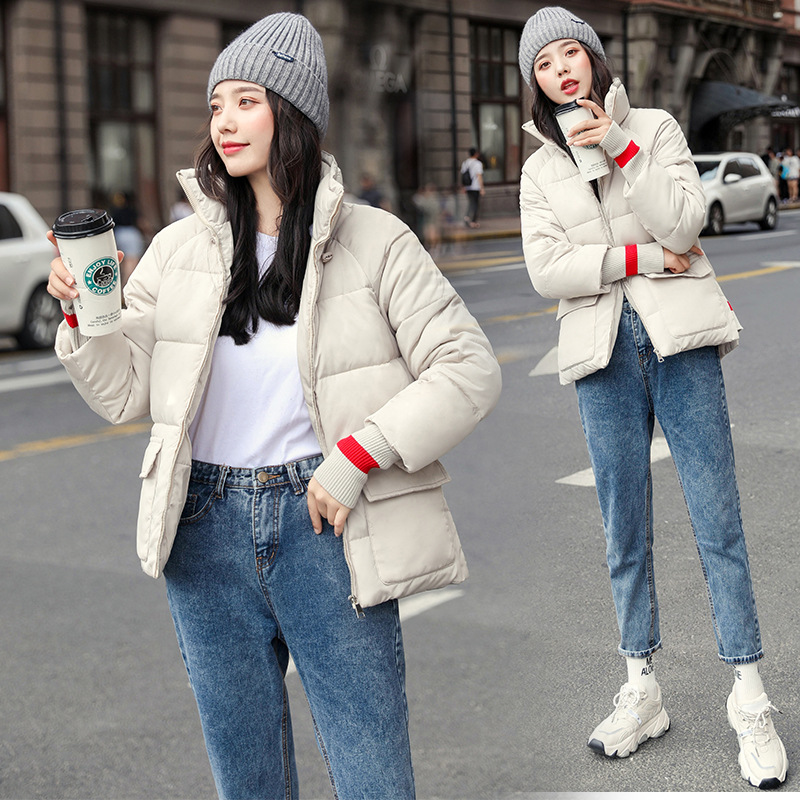 Short Cotton Coat Women's 2020 New Style Korean-style Loose-Fit Padded Stand Collar Cotton-padded Jacket down Feather Cotton-pad