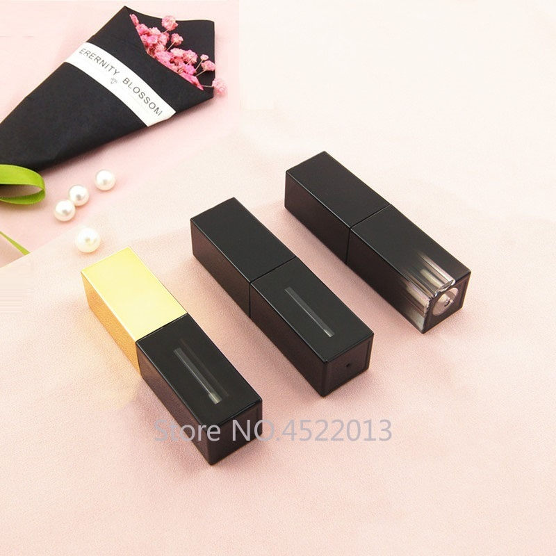 10/30/50pcs Black Gold Gradient Square Lipgloss Tube 5ml Empty Makeup DIY Lip Glaze Tube Cosmetics Refillable Container Homemade image