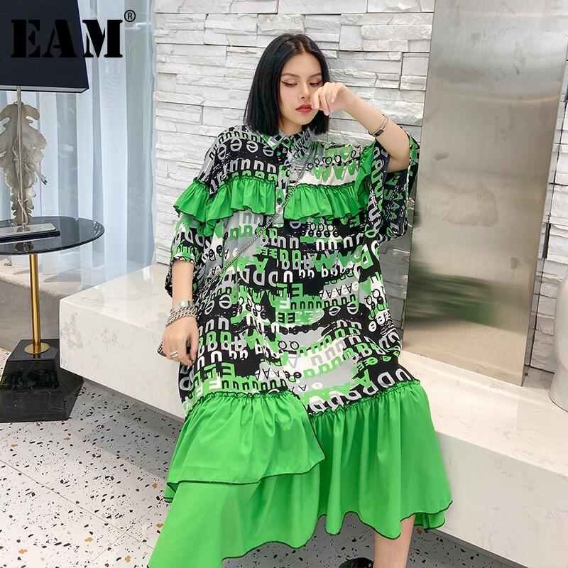 [EAM] Women Printed Ruffles Big Size Long Dress New Lapel Three-quarter Sleeve Loose Fit Fashion Tide Spring Summer 2020 1U199